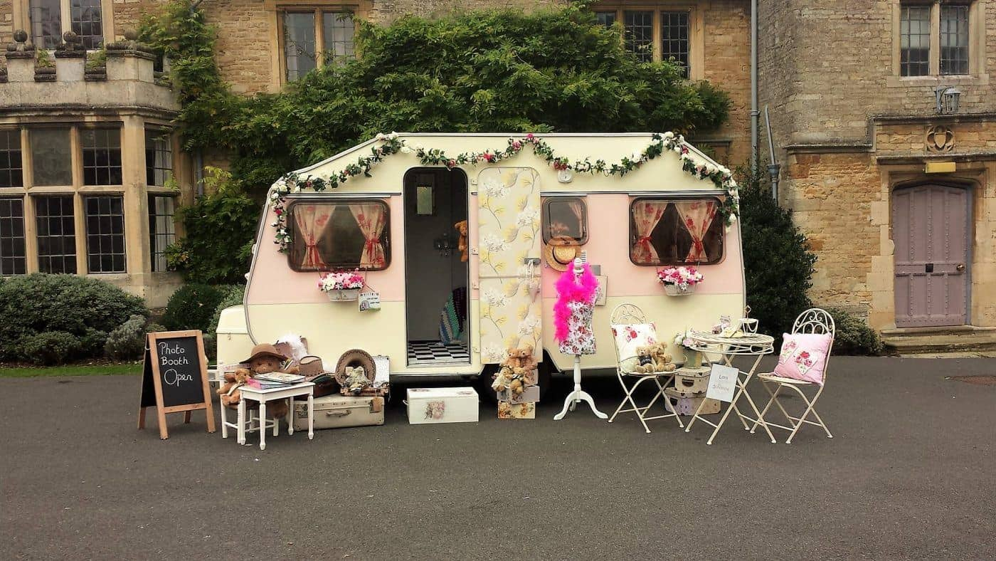 vintage caravan photo booth hire beautiful backdrop
